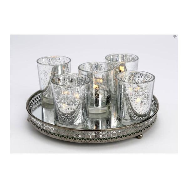Set 5 kalíškov na sviečku s táckou Round
