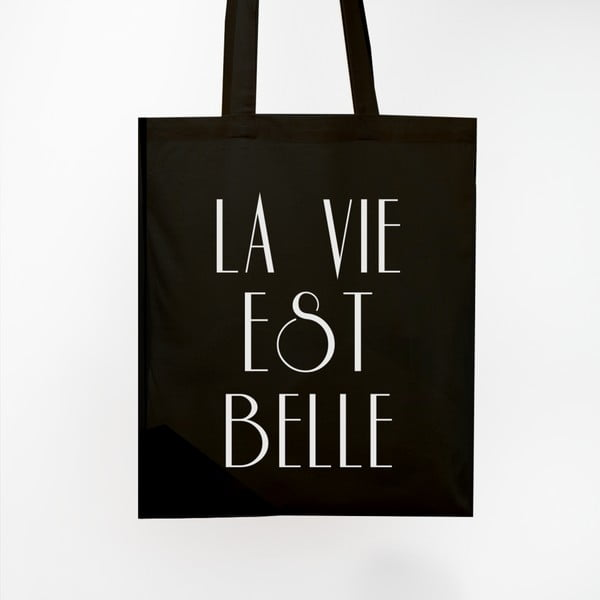 Plátená taška La Vie Est Belle Black