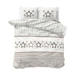 Hnedo-biele obliečky z mikroperkálu na dvojlôžko Sleeptime Stars, 240×220 cm