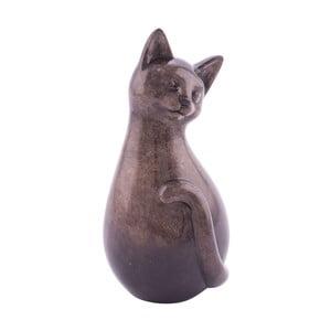 Hnedá keramická dekorácia s motívom mačičky Ego Dekor, 12×29 cm