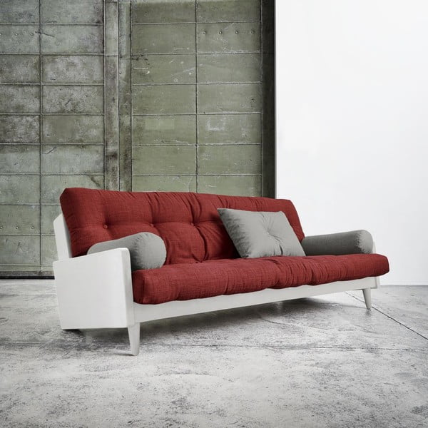 Rozkladacia pohovka Karup Indie White/Passion Red/Granite Grey
