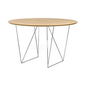 Jedálenský stôl v dekore dubového dreva s pochrómovanou podnožou TemaHome Row, Ø120cm