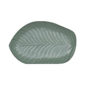 Zelený cínový podnos v tvare listu Strömshaga, 25×38 cm