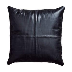 Čierny kožený vankúš Fuhrhome Athens, 45×45cm