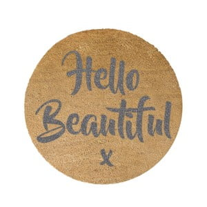 Guľatá rohožka Artsy Doormats Grey Hello, ⌀ 70 cm