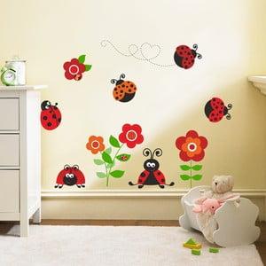 Dekoratívna samolepka na stenu Lienky s kvetmi