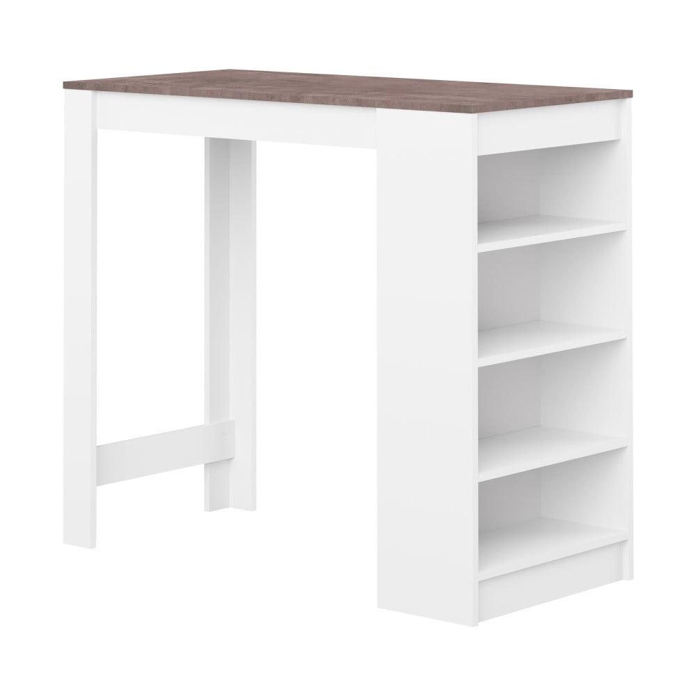 2ba684ad6812 Biely barový stôl s hnedou doskou Symbiosis Auguste