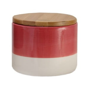 Červeno-biela keramická dóza Strömshaga Majken, 10 cm