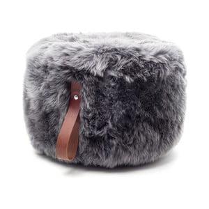 Sivo-hnedý okrúhly puf z ovčej vlny Royal Dream