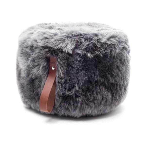 Sivý puf z ovčej kožušiny s hnedým detailom Royal Dream, Ø60 cm