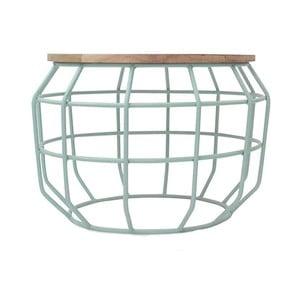 Mentolovozelený príručný stolík s doskou z mangového dreva LABEL51 Pixel, Ø56 cm