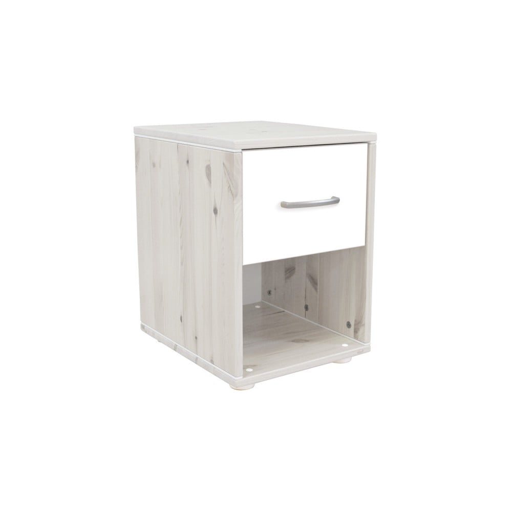 Biely detský nočný stolík z borovicového dreva Flexa Classic