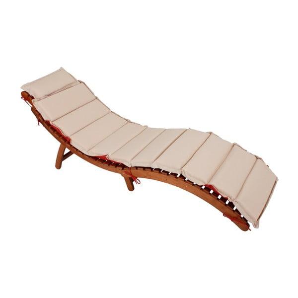 Záhradné skladacie ležadlo z eukalyptového dreva s obojstranným sedákom ADDU Nassau