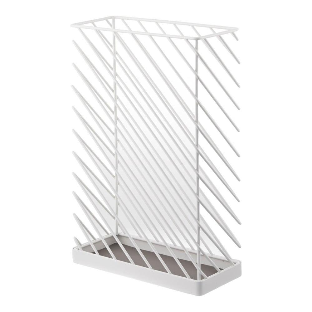 Biely stojan na dáždniky Yamazaki Slash, šírka 30,5 cm