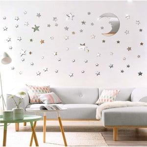 Sada 77 adhezívnach zrkadlových samolepiek Ambiance Moon and Stars