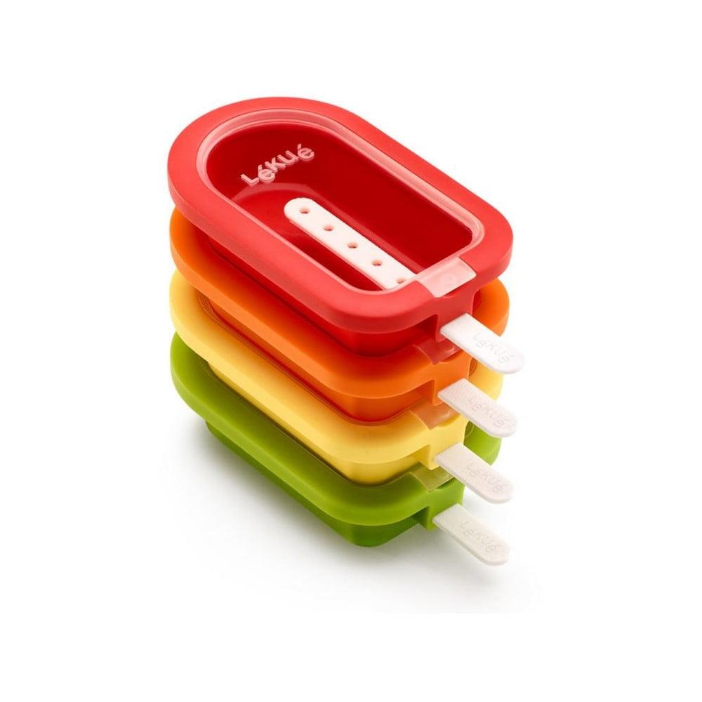 Súprava 4 malých farebných silikónových foriem na zmrzlinu Lékué