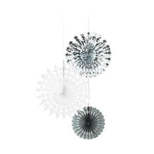Sada troch papierových dekorácií Talking Tables White & Silver Snow Flake