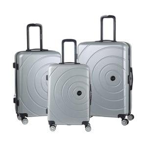 Sada 3 svetlosivých cestovných kufrov na kolieskách Travel World