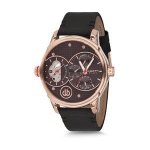 Pánske hodinky s čiernym koženým remienkom Bigotti Milano Rolf
