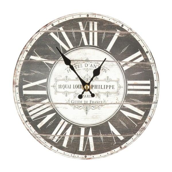 Sivé nástenné hodiny Clayre & Eef