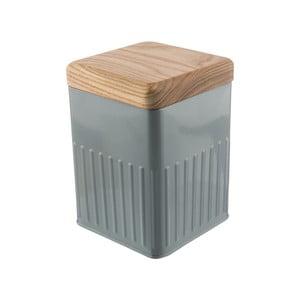 Sivá plechová hranatá dóza s viečkom z jaseňového dreva Bakehouse Hydria S
