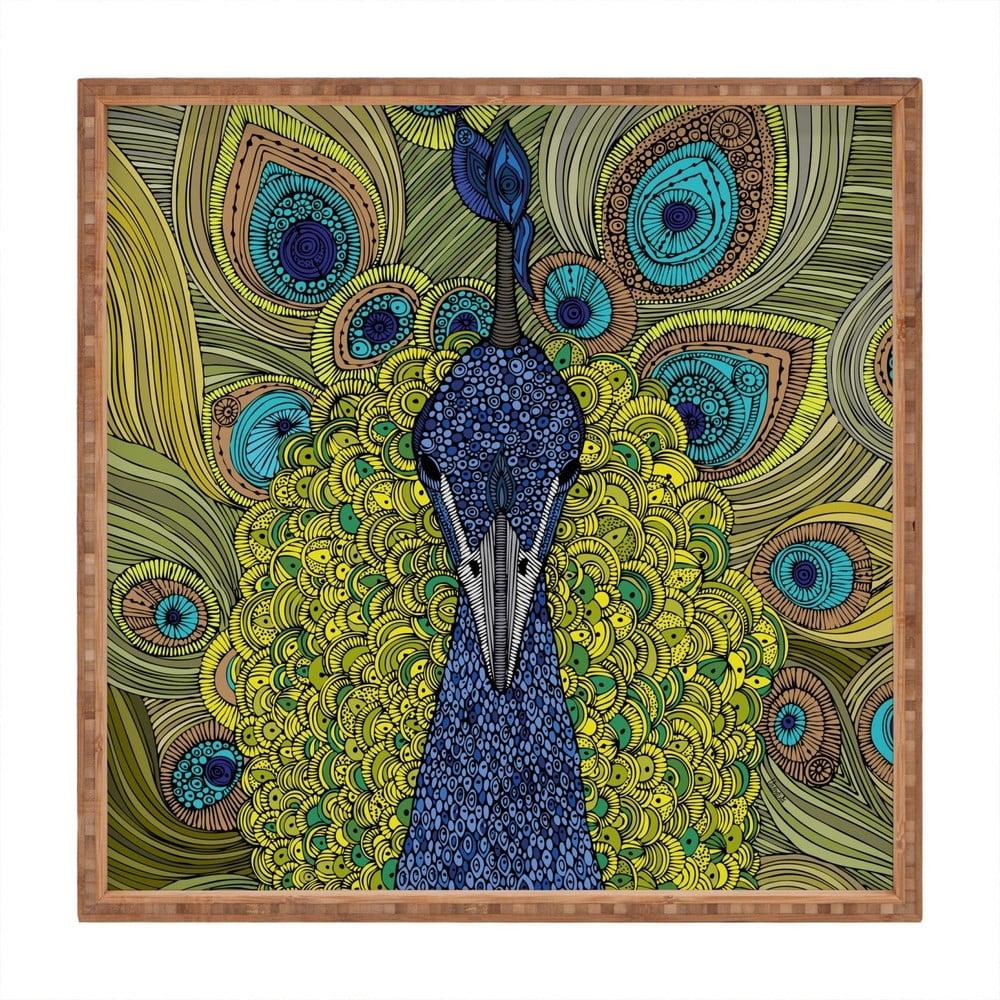 Drevený dekoratívny servírovací podnos Peacock, 40 × 40 cm