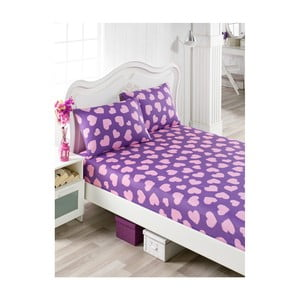 Set fialovoružovej plachty a 2 obliečok na vankúše na jednolôžko Mulena Punteja, 160×200 cm