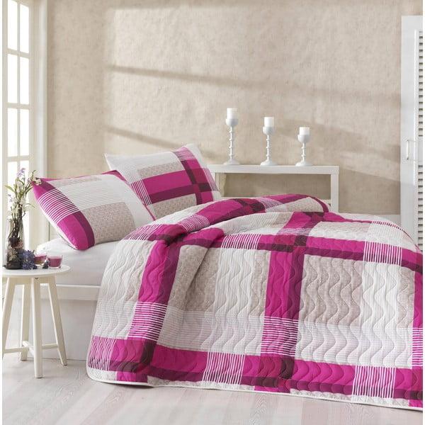 Sada prikrývky cez posteľ a dvoch obliečok na vankúš Karo Pink, 200x220 cm
