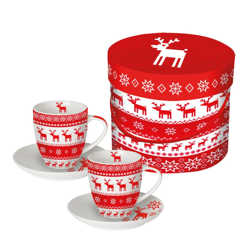 Sada 2 šálok z kostného porcelánu na espresso v darčekovom balení PPD Magic Christmas Red, 100 ml