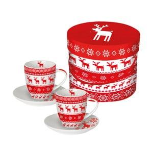 Sada 2 porcelánových šálok na espresso s vianočným motívom v darčekovom balení PPD Magic Christmas Red, 100 ml