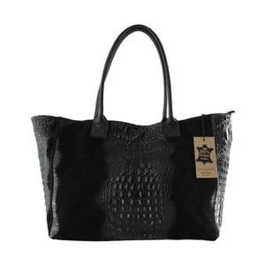 Čierna kožená kabelka Chicca Borse Signore