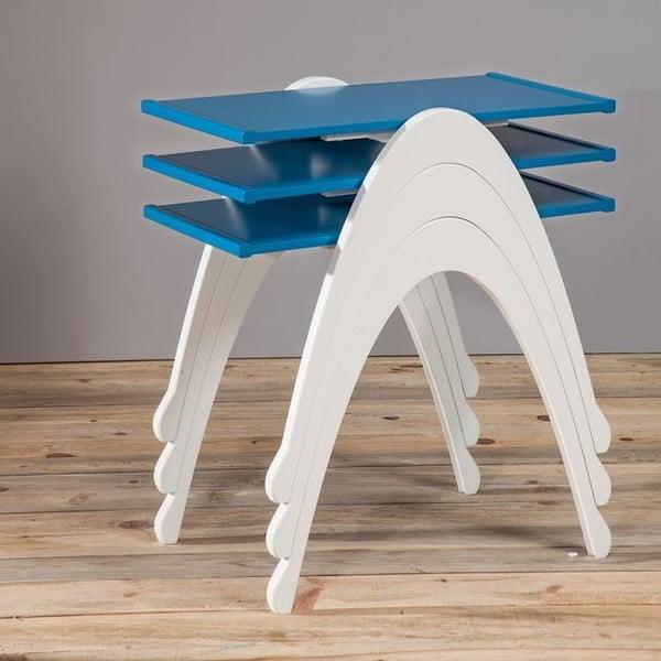 Sada 3 stolíkov  Vega Nesting White/Blue