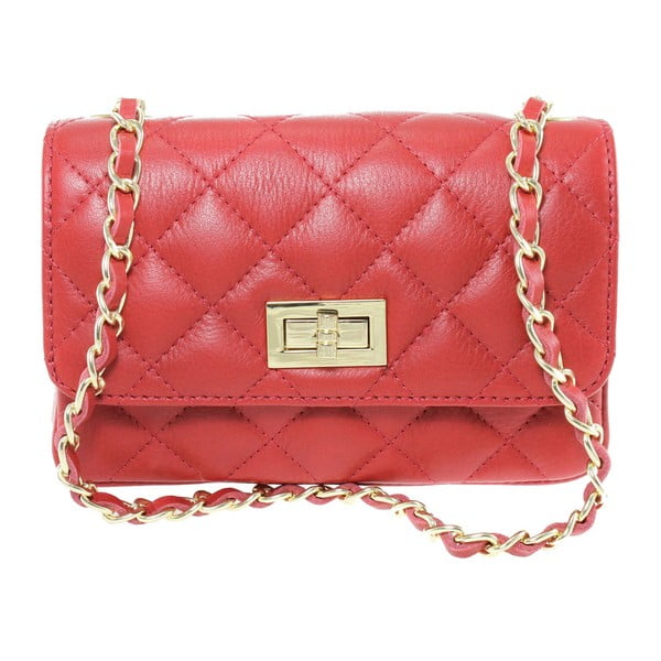 Červená kožená listová kabelka Chicca Borse Cee Cee