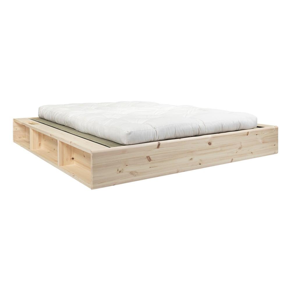 Dvojlôžková posteľ z masívneho dreva s futonom Double Latex a tatami Karup Design, 180 x 200 cm