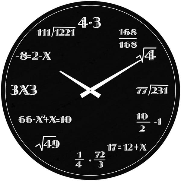 Sklenené hodiny Matematika, 38 cm