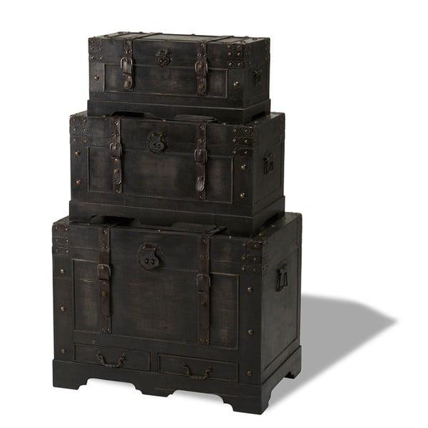 Sada 3 drevených dekoratívnych truhlíc Furnhouse Trunks Straight