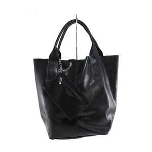 Čierna kožená kabelka Toti