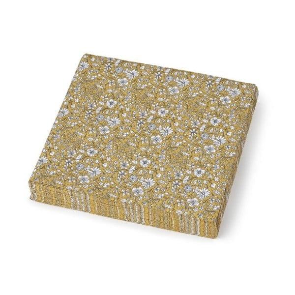 Sada 20 dekoračných papierových obrúskov A Simple Mess Dinan Golden Yellow