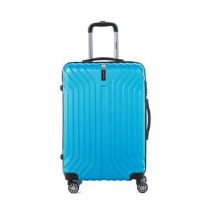 Tyrkysovomodrý cestovný kufor na kolieskách s kódovým zámkom SINEQUANONE Elisabeth, 71 l