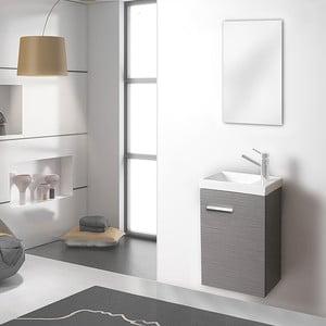 Kúpeľňová skrinka s umývadlom a zrkadlom Kai, odtieň sivej, 40 cm