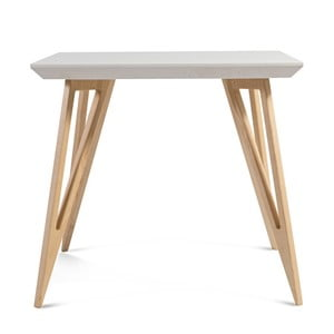 Jedálenský stôl z masívneho jaseňového dreva s bielou doskou Charlie Pommier Triangle, 80×80cm