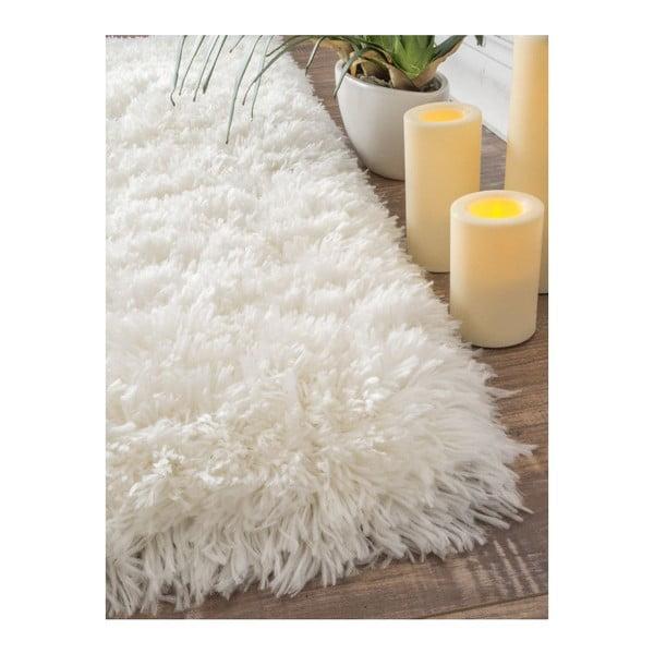 Ručne tuftovaný biely koberec nuLOOM Fluffy White, 122 x 183 cm