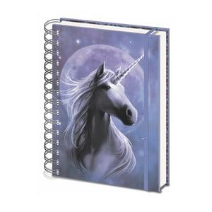 Linajkový zápisník A5 Pyramid International Anne Stokes Unicorn, 80 strán