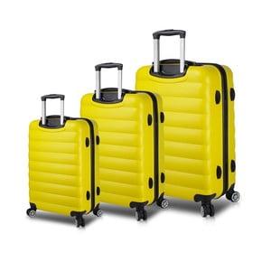 Sada 3 žltých cestovných kufrov na kolieskach s USB porty My Valice RESSO Travel Set