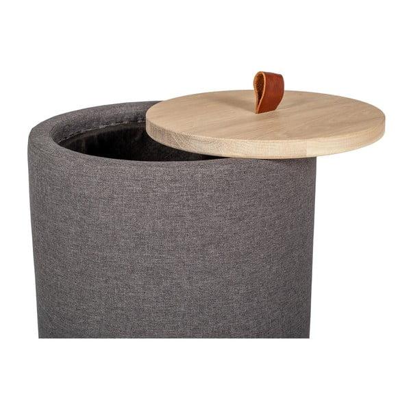 Odkladací stolík v tmavosivej farbe s odnímateľnou doskou z dubového dreva Askala Ibisco, ⌀ 36 cm
