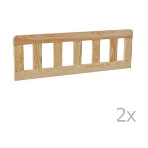 Sada 2 hnedých drevených zábran k detskej postieľke Pinio Classic, 200 × 90 cm