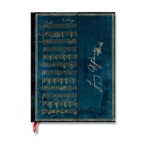 Modrý linajkový zápisník s tvrdou väzbou Paperblanks Schubert, 144 strán