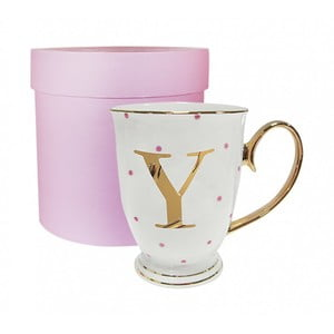 Písmenkový hrnček Y s ružovými bodkami