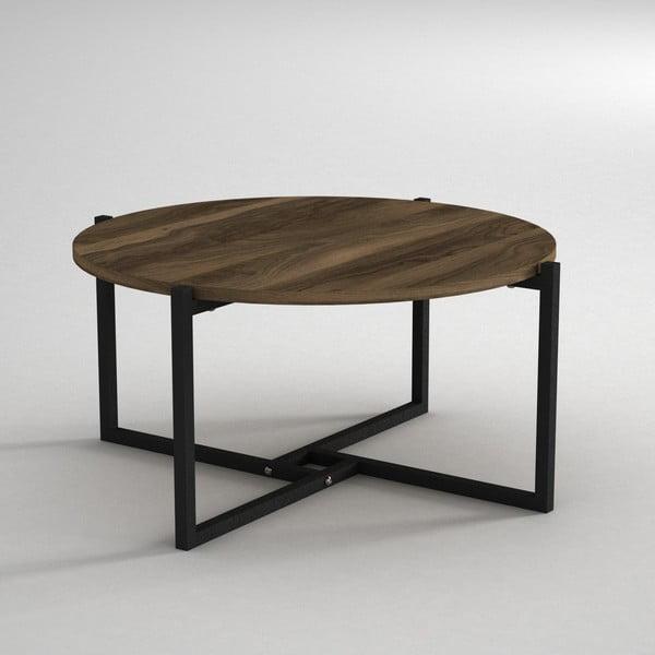 Konferenčný stolík s doskou v dekore orechového dreva Noce, ⌀ 68 cm