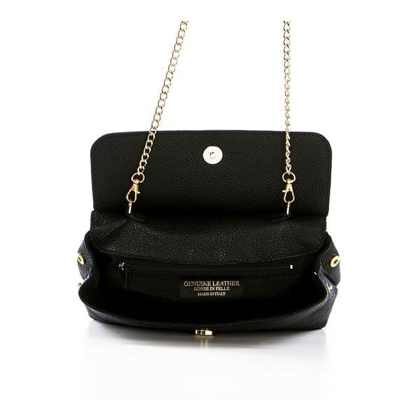 Čierna kožená kabelka Federica Bassi Envelope